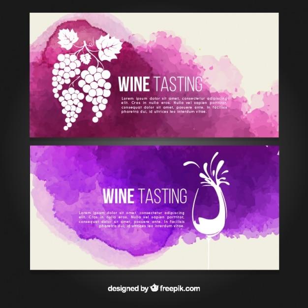 Artistieke wijnproeverij banners met waterverf vlekken Gratis Vector