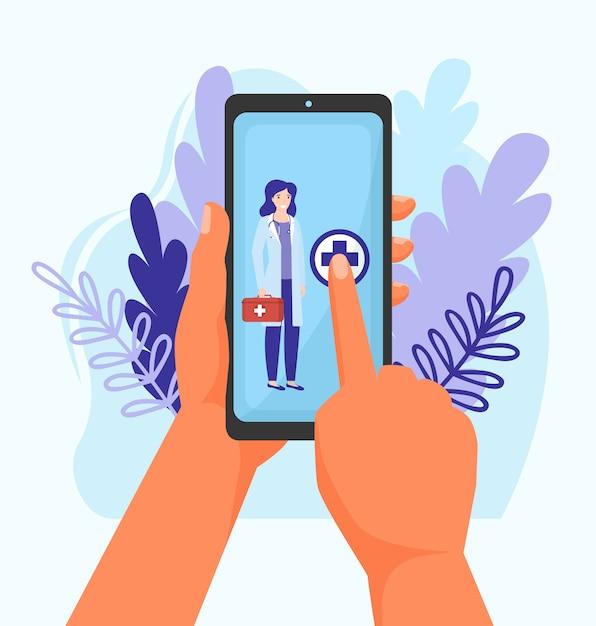 Arts bellen online service illustratie. gezondheidszorg via mobiele telefoon, bel naar medische kliniek voor doktersconsultatie. Premium Vector