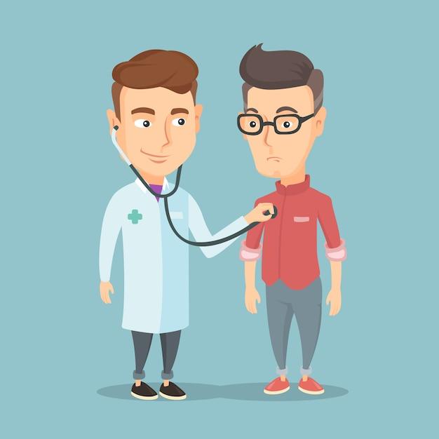 Arts die aan borst van patiënt luistert. Premium Vector