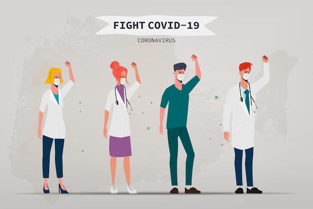 Arts die de patiënt redt van een uitbraak van het coronavirus. Premium Vector