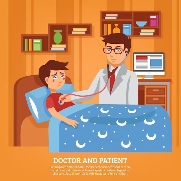 Arts die de vlakke illustratie van het patiënthuis bijwoont Gratis Vector