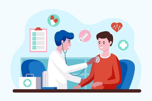 Arts die een patiënt onderzoekt bij de geïllustreerde kliniek Gratis Vector
