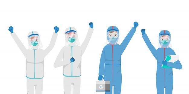 Arts die patiënten redt van een uitbraak van het coronavirus en de covid-19 bestrijdt. Premium Vector