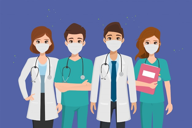 Arts die patiënten redt van een uitbraak van het coronavirus en het bestrijden van het coronavirus. Premium Vector