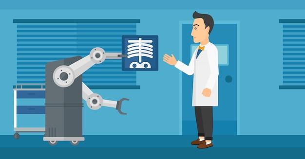 Arts die röntgenfoto met behulp van robot onderzoekt. Premium Vector