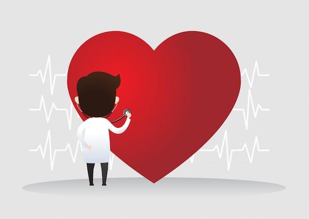 Arts die zich met teken van hartslag bevindt. gezondheid concept. vector illustratie Premium Vector