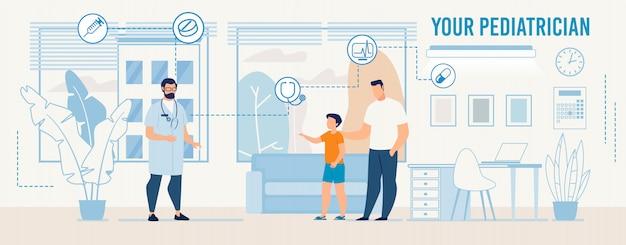Arts en bezoekers in moderne kinderarts office Premium Vector
