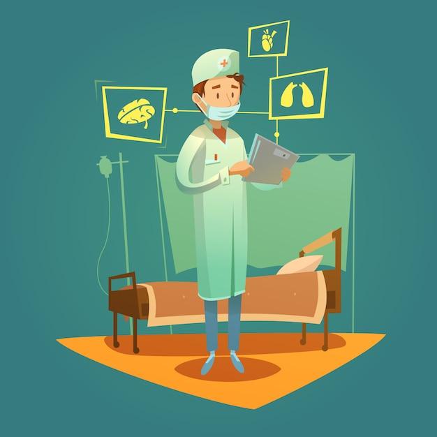 Arts en high-tech diagnose van de gezondheidszorg Gratis Vector