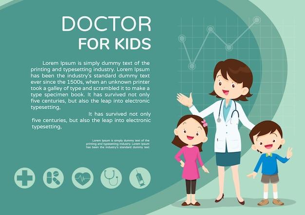 Arts en kinderen achtergrondaffichelandschap Premium Vector