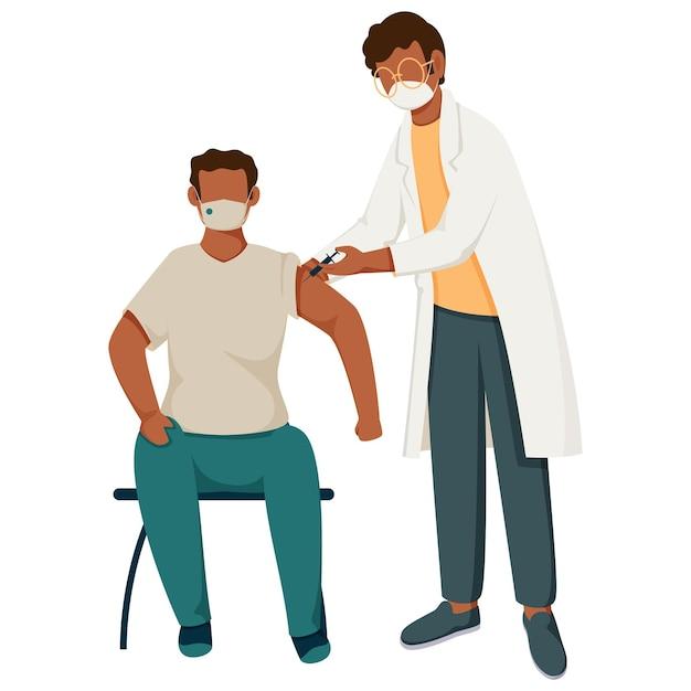 Arts en patiënt tijdens vaccinatie Premium Vector