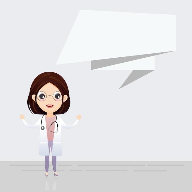 Arts met bellenwoord. vector illustratie medic. vector, illustratie Premium Vector