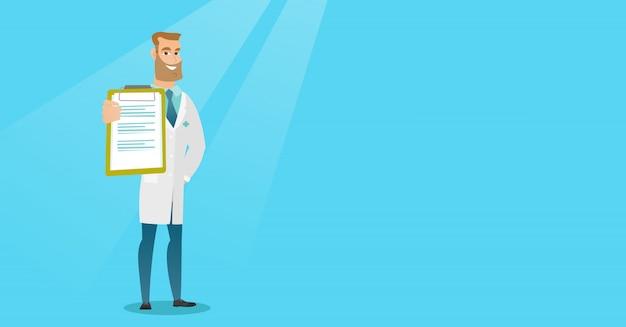 Arts met een klembord vectorillustratie. Premium Vector