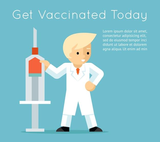Arts met een spuit. affiche voor vaccinatie tegen influenza Gratis Vector