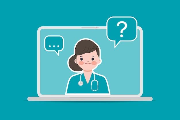 Arts met een stethoscoop medische boekingstoepassing met laptop ui-ontwerp. online arts en ziekenhuis. Gratis Vector