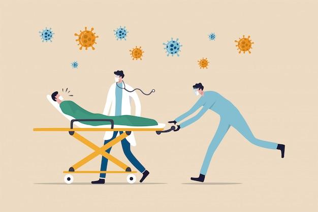 Arts met medisch team rijden bed met kritische coronavirus covid-19 longontsteking patiënt naar eerste hulp Premium Vector