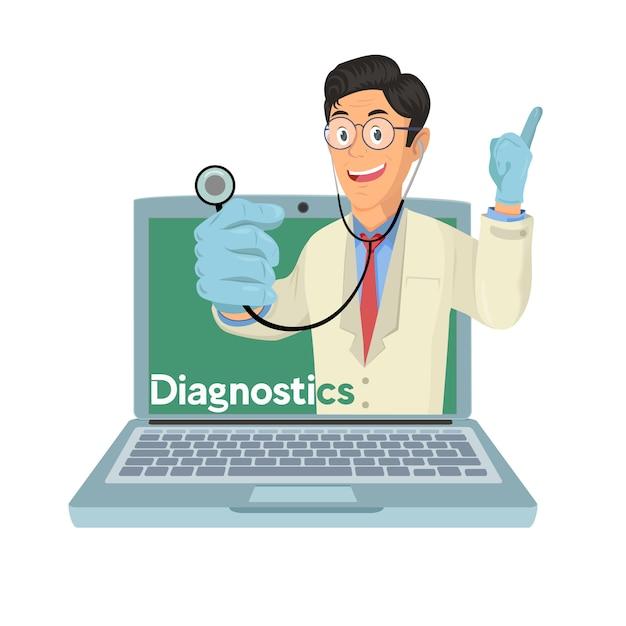Arts met online medisch consultconcept, gezondheidszorgdiensten Premium Vector