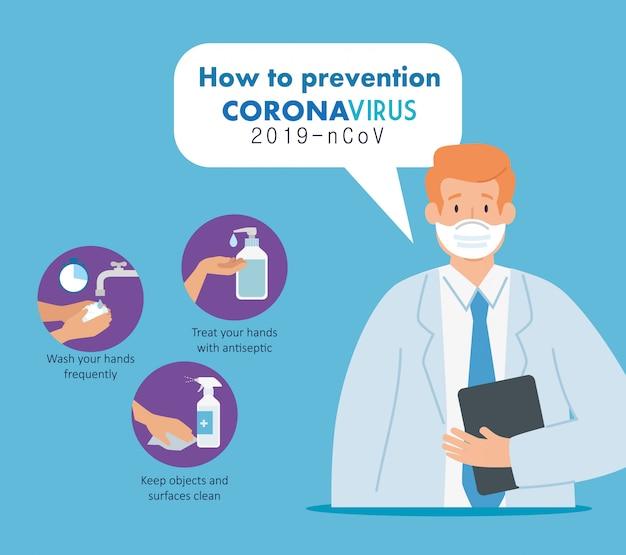 Arts met preventie van coronavirus 2019 ncov Gratis Vector
