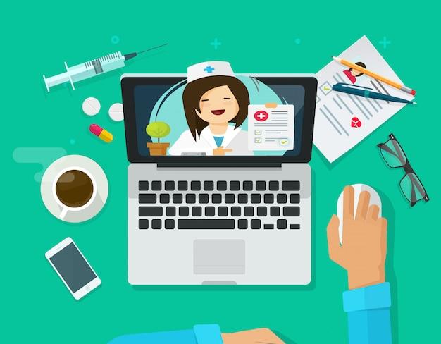 Arts op computerlaptop die online of de vectorillustratie van telemedicine van internet in de vlakke hoogste mening van het beeldverhaalontwerp raadplegen Premium Vector