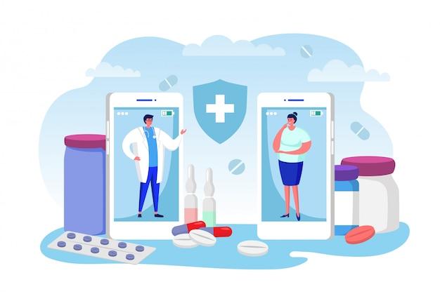 Arts overleg online illustratie, cartoon vrouw patiënt karakter oproep arts voor advies, met behulp van videocall op smartphone Premium Vector