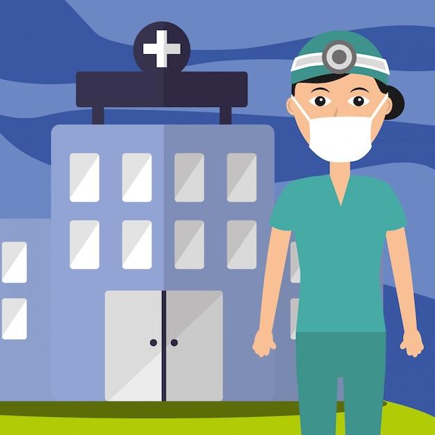 Arts uniform en masker personeel professioneel ziekenhuis gebouw Premium Vector