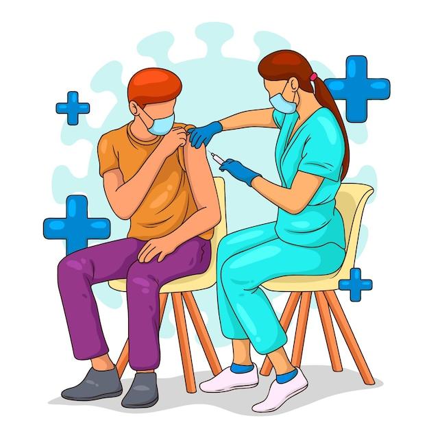 Arts vaccin injecteren aan een patiënt Gratis Vector