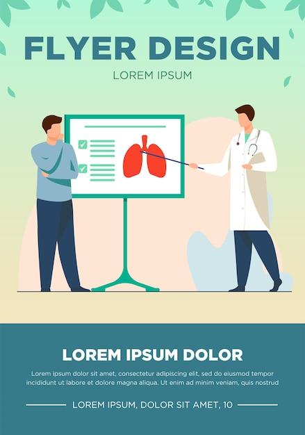 Arts vertelt over longen aan patiënt. lezing, ziekte, ademhaling platte vectorillustratie. geneeskunde en gezondheidszorgconcept voor banner, websiteontwerp of bestemmingswebpagina Gratis Vector