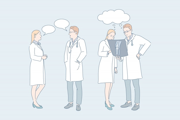 Arts werk medisch overleg concilium concept Premium Vector