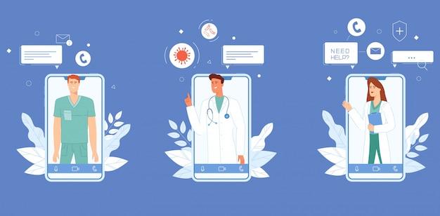 Artsen die adviseren via de applicatieset. Premium Vector