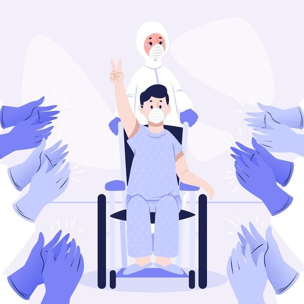 Artsen die de herstelde patiënt klappen Gratis Vector