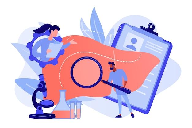 Artsen die enorme lever met vergrootglas en microscoop onderzoeken. cirrose, cirrose van de lever en leverziekte concept op witte achtergrond. roze koraal bluevector geïsoleerde illustratie Gratis Vector