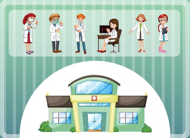 Artsen die in het ziekenhuis werken Gratis Vector