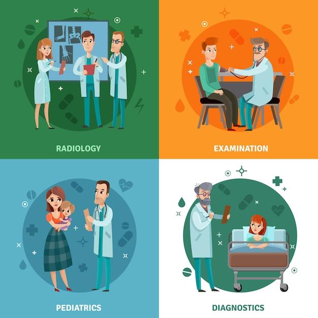 Artsen en patiënten ontwerpconcept Gratis Vector