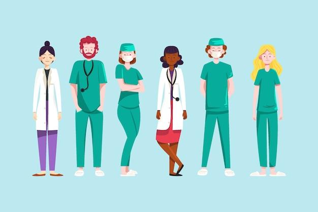 Artsen en professioneel ziekenhuispersoneel Gratis Vector