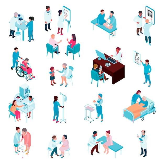 Artsen en verpleegkundigen isometrische set Gratis Vector