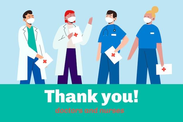 Artsen en verpleegsters die maskers dragen Gratis Vector