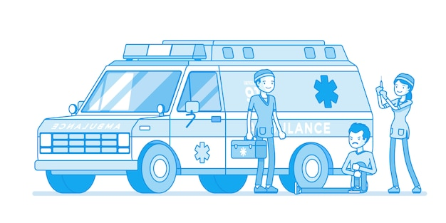 Artsen in de buurt van de ambulance-auto Premium Vector