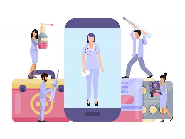 Artsen online pillen consultatie, gezondheidszorg, medische ondersteuning via smartphone service applicatie Premium Vector