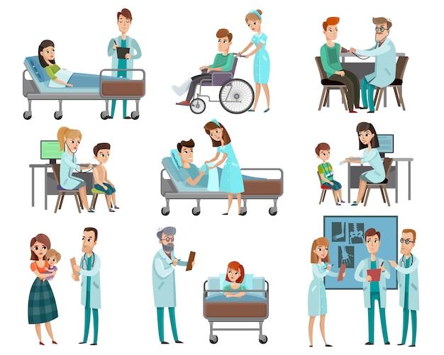 Artsen patiënten tekenset Gratis Vector