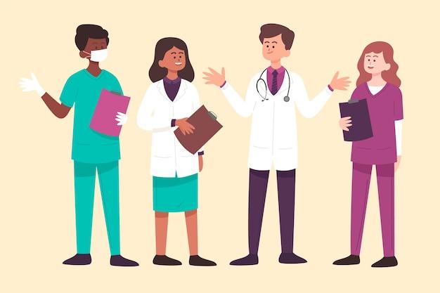 Artsen praten en houden klemborden Gratis Vector