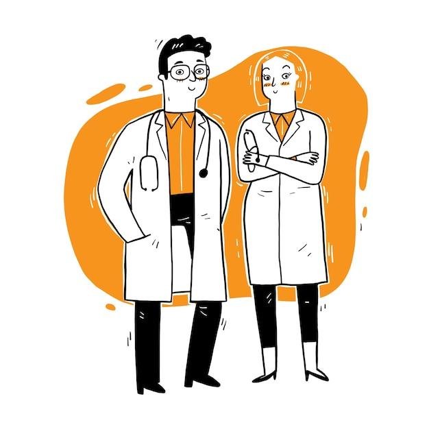 Artsen staan en praten. medische digitale vector over de werkdag van artsen. Premium Vector