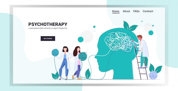 Artsen team oplossen van psychologische problemen in verwarde hoofd psychotherapie counseling concept horizontale volledige lengte kopie ruimte vectorillustratie Premium Vector