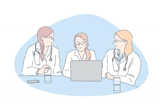 Artsen vergadering, ziekenhuispersoneel, kliniek personeel concept Premium Vector