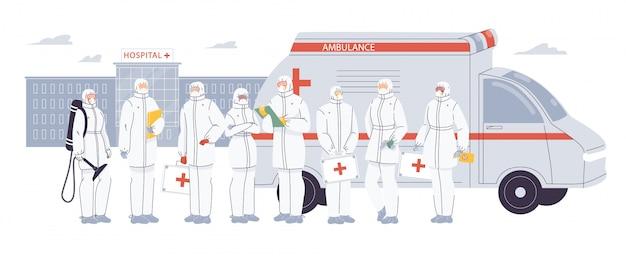 Artsen verpleegster team dragen ppe uniform op de werf Premium Vector
