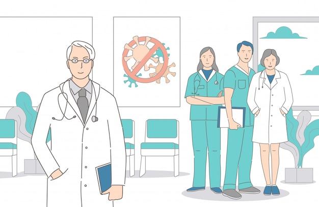 Artsen, verpleegsters en gezondheidswerkers staan samen in het ziekenhuis vector cartoon overzicht illustratie. Premium Vector