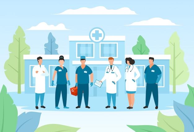 Artsengroep in het ziekenhuis, gezondheidszorg illustratie, medische personeel stripfiguur in uniform, team geneeskunde mensen Premium Vector