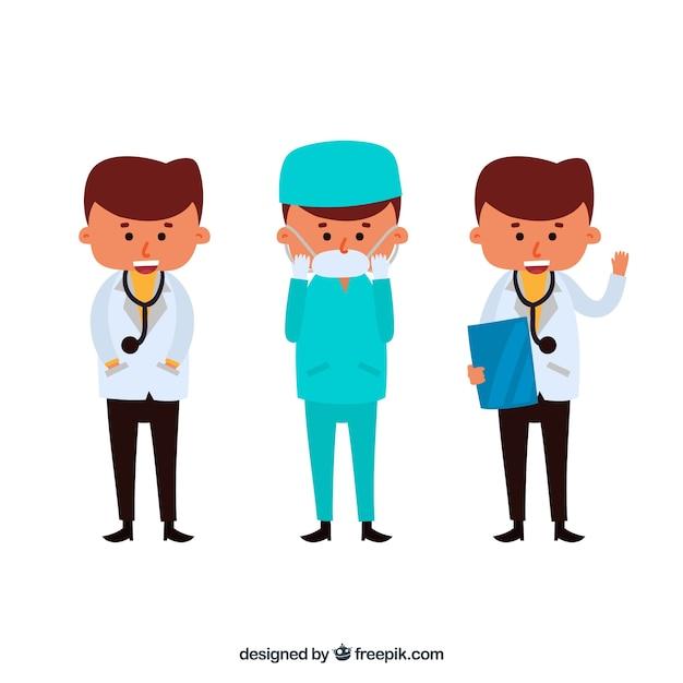 Artsenkarakter in verschillende situaties Gratis Vector