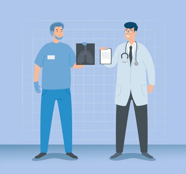 Artsenmannetje met paramedicus en röntgenstraal van longen Gratis Vector
