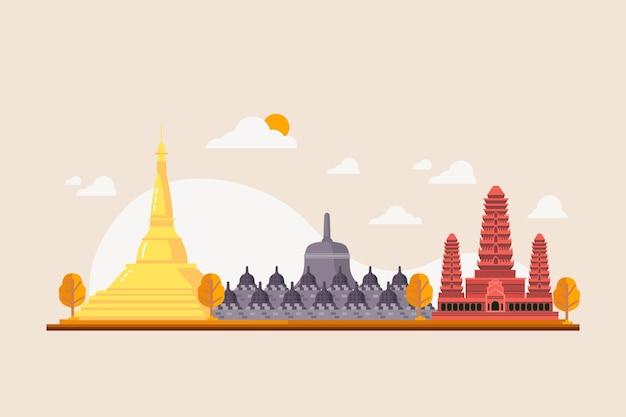 Asean gebouw illustratie Gratis Vector