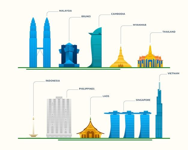 Asean gebouwen illustratie set Gratis Vector