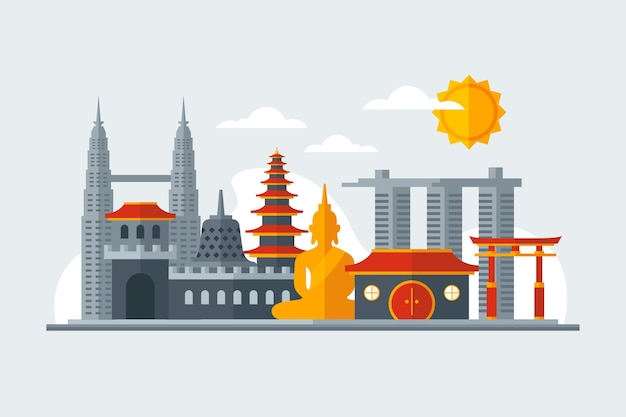 Asean gebouwen illustratie Gratis Vector